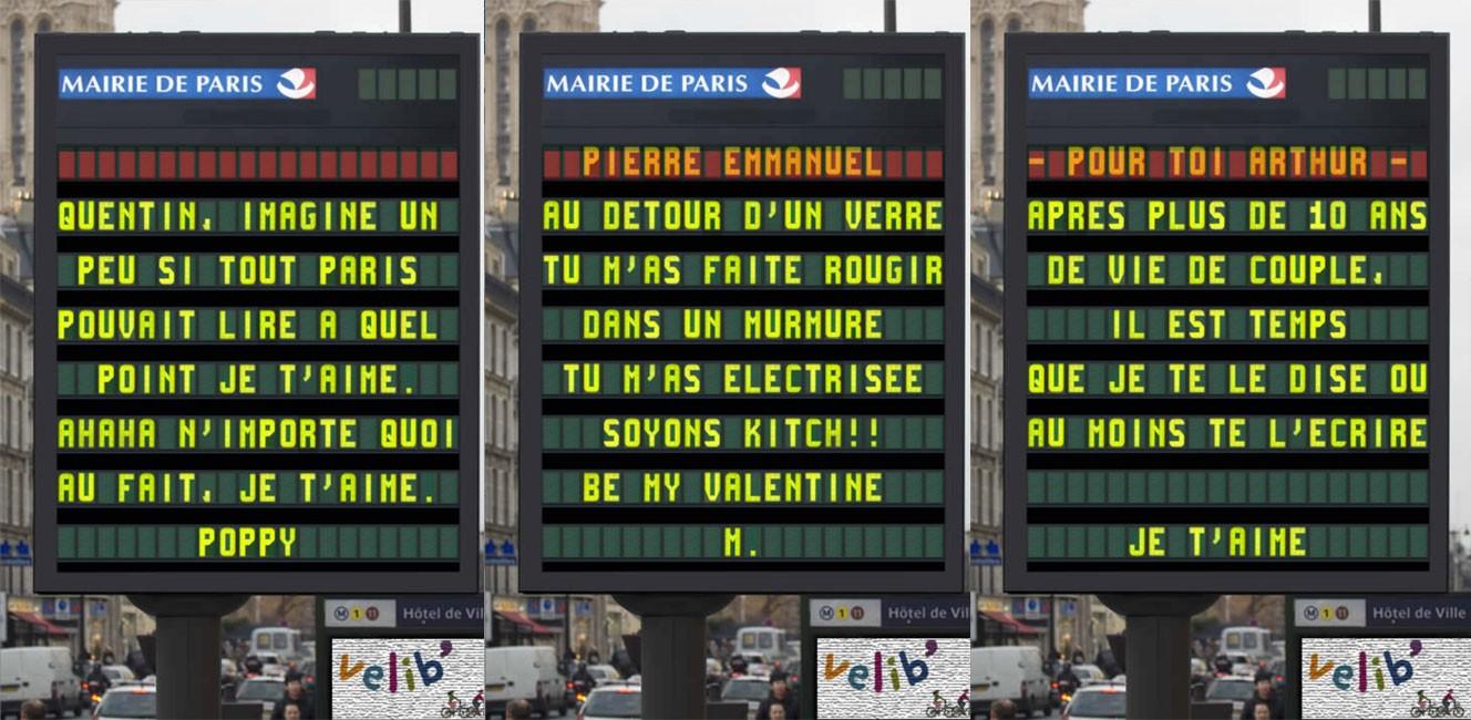 パリ市が募集したバレンタイン・愛のメッセージ