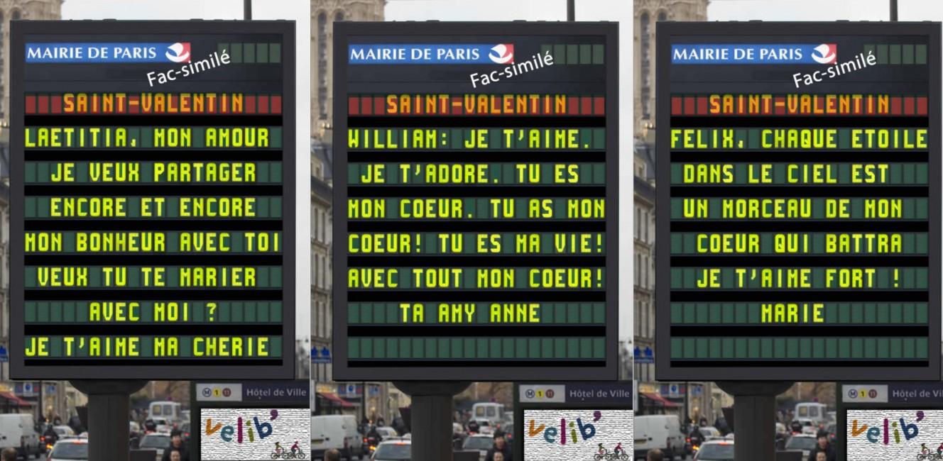 パリ市が募集したバレンタイン・愛のメッセージ 2016