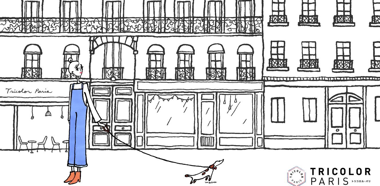 Tricolor Paris x marine illustration キュートなパリジェンヌのPC&スマホ用壁紙