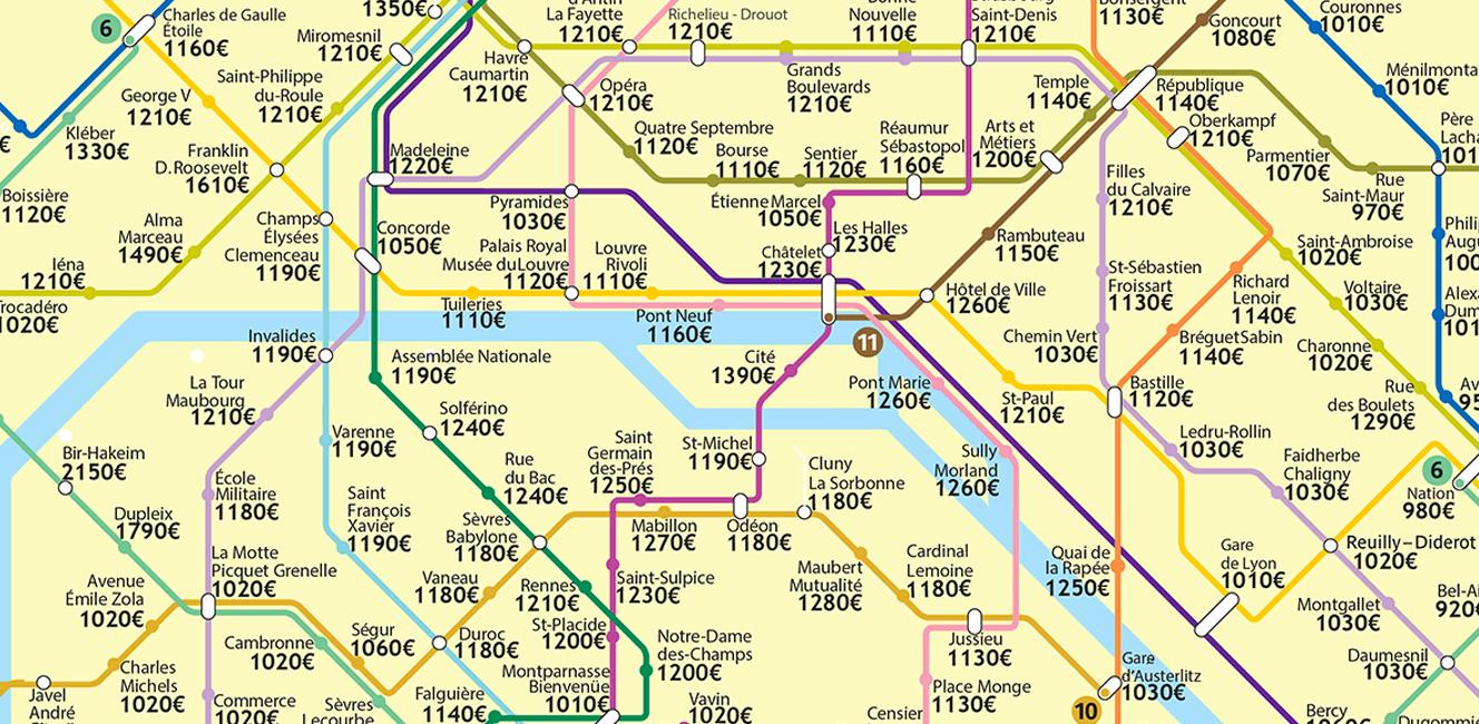 パリの家賃が一目でわかるメトロマップ!