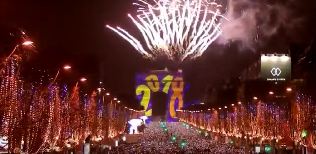 2018年元旦を祝う凱旋門のスペクタクル映像
