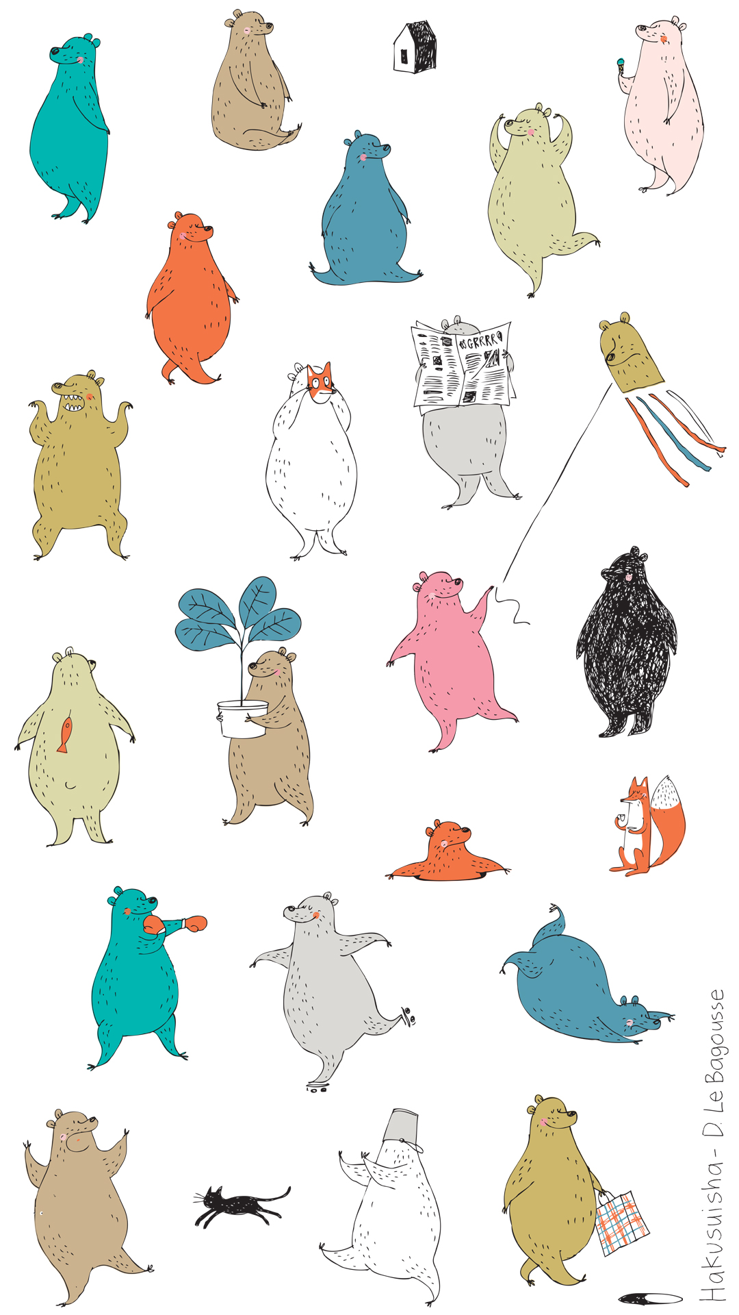 ドミニクさんのクマのイラスト壁紙無料ダウンロード トリコロル