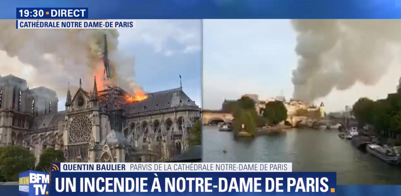 パリ・ノートルダム大聖堂で火災発生